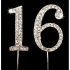 Silver 16th Birthday Rhinestone Cake Topper Number