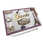 Paris Guest Book with Pen for Weddings Sweet 16 Birthday Keepsake