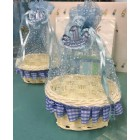 1st Birthday Blue Wicker Basket Pouch Party Favors