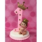 First Birthday Number One Pink Princess or Royal Blue Prince with Bottle Cake Topper Centerpiece Decoration