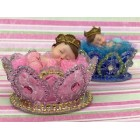 Prince Boy or Princess Girl Sleeping inside Crown Baby Shower Favor Decoration Cake Topper