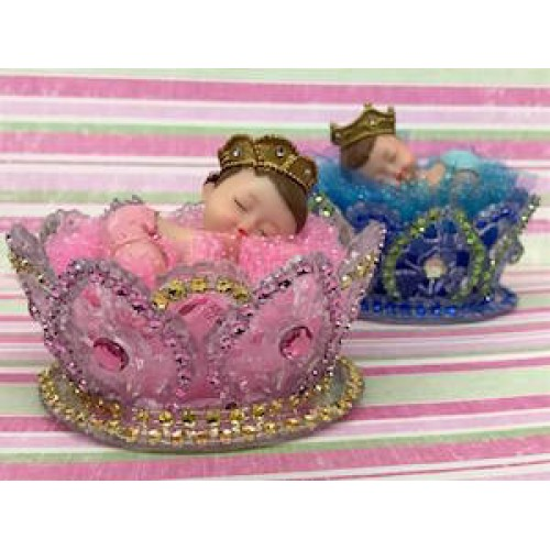 Sleeping Baby Boy Prince with Crown Baby Shower Favor,Cake Topper Decoration
