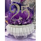 25th Anniversary Birthday Purple Cake Topper Centerpiece with Rhinestone Numbers