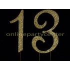 Gold Number 13 Rhinestone Cake Topper