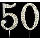 Silver 50th Birthday Monogram Rhinestone Cake Topper Number