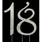 Silver Number 18 Rhinestone Cake Topper