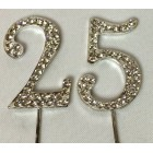 Silver 25th Birthday Monogram Rhinestone Cake Topper Number