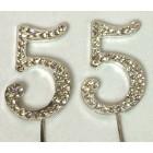Silver 55th Birthday Monogram Rhinestone Cake Topper Number
