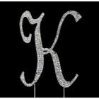 Silver Letter K Rhinestone Cake Topper