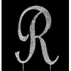 Silver Letter R Rhinestone Cake Topper