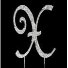 Silver Letter X Rhinestone Cake Topper
