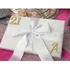 Adult Birthday Anniversary Signature Guest Book with Rhinestone Gold Monogram Number And Letter