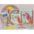 Unicorn Birthday Party Supply Package-Plates,Napkins,Table Cover,Cups