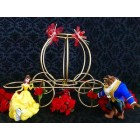 Beauty and The Beast Belle Gold Carriage with Flowers Cake Topper Centerpiece Decoration