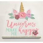 Unicorns Make Me Happy Wood Wall Decoration Kids Room Party with Flowers and Rhinestone Decor