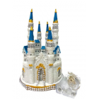 "Fairytale Dream Wedding Castle Centerpiece with Lights SilverTrim 9"" H"