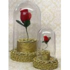 Beauty and The Beast Birthday Plastic Rose Domes Cake Favor Decoration Set of 2