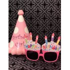 Birthday Pink Party Hat Polka Dots with Funny Pink Cupcake Sunglasses Novelty Party Supplies
