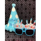 Birthday Blue Party Hat Polka Dots with Funny Blue Cupcake Sunglasses Novelty Party Supplies