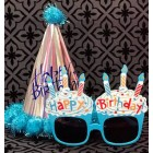 Birthday Blue Party Hat Silver with Funny Pink Cupcake Sunglasses Novelty Party Supplies