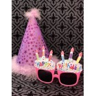 Birthday Purple Party Hat Stars with Funny Pink Cupcake Sunglasses Novelty Party Supplies