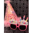 Birthday Pink Party Hat Stars with Funny Pink Cupcake Sunglasses Novelty Party Supplies