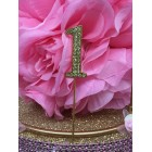 Rhinestone Gold 1st Birthday Number Cake Decoration Anniversary Party Supply