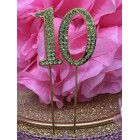 Rhinestone Gold 10th Birthday Number Cake Decoration Anniversary Party Supply