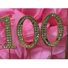 Rhinestone Gold 100th Birthday Number Cake Decoration Anniversary Party Supply