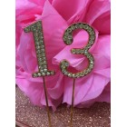 Rhinestone Gold 13th Birthday Number Cake Decoration Anniversary Party Supply