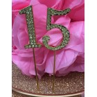 Rhinestone Gold 15th Mis Quince Birthday Number Cake Decoration Anniversary Party Supply