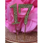 Rhinestone Gold 17th Birthday Number Cake Decoration Anniversary Party Supply