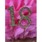 Rhinestone Gold 18th Birthday Number Cake Decoration Anniversary Party Supply