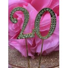 Rhinestone Gold 20th Birthday Number Cake Decoration Anniversary Party Supply