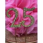 Rhinestone Gold 25th Birthday Number Cake Decoration Anniversary Party Supply