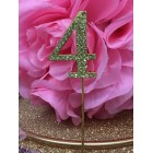 Rhinestone Gold 4th Birthday Number Cake Decoration Anniversary Party Supply