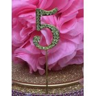 Rhinestone Gold 5th Birthday Number Cake Decoration Anniversary Party Supply