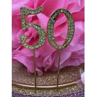 Rhinestone Gold 50th Birthday Number Cake Decoration Anniversary Party Supply