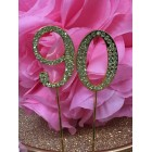 Rhinestone Gold 90th Birthday Number Cake Decoration Anniversary Party Supply