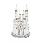 "9"" White with Silver Fairytale Castle Cake Top Centerpiece for Birthday Wedding Sweet 16"
