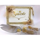 Gold and White 50th Anniversary Birthday Guest Book with Cake Knife and Server Set Keepsake Gift