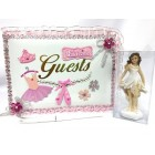Ballerina Princess Birthday Party Guest Book with Girl Figurine Girls Party Keepsake