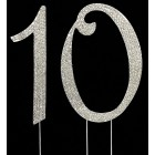 Silver Number 10 Rhinestone Cake Topper