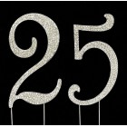 Silver Number 25 Rhinestone Cake Topper