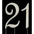 Silver Number 21 Rhinestone Cake Topper