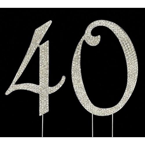 Silver Number 40 Rhinestone Cake Topper