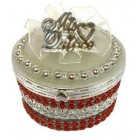 Mis Quince Anos Birthday Party Round Red Jewelry Favor Box Quinceanera Gifts