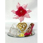 50th Birthday Party Acrylic Shoe Favor with Fuchsia Flower in Clear Box