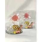 50th Birthday Party Acrylic Shoe Favor with Pink Flower in Clear Box