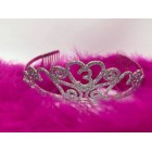 Birthday Princess Tiara Crown with Feather Boa